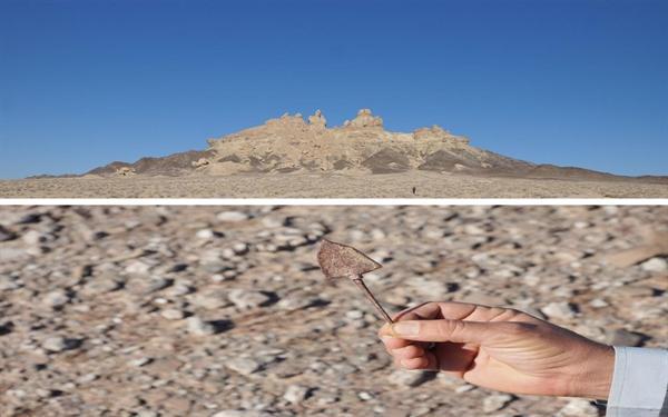 کشف سر پیکان فلزی پیش از تاریخ در کوه پایه های پنج انگشتی ابرکوه