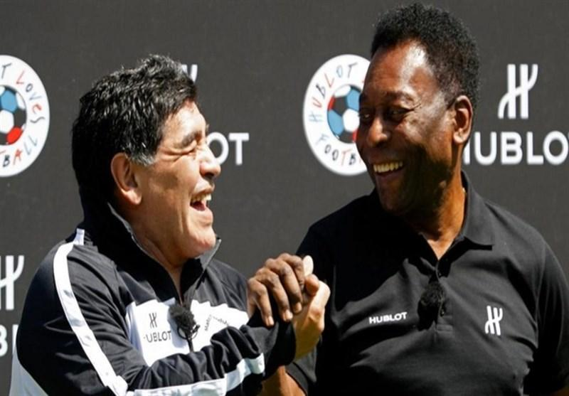 آرزوی سلامتی پله برای مارادونا در پیامی جالب
