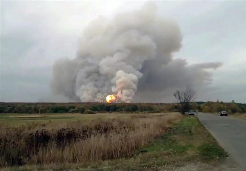آتش سوزی و انفجار در یک انبار مهمات در منطقه ریازان روسیه، 14 روستا تخلیه شدند