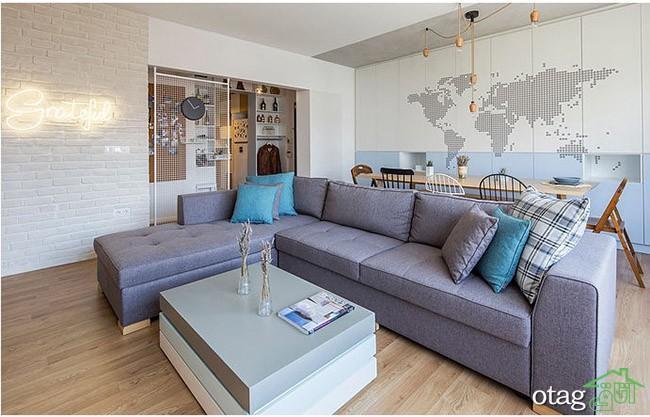 طراحی داخلی آپارتمان برای زوج جوان در استانبول ترکیه با پلان