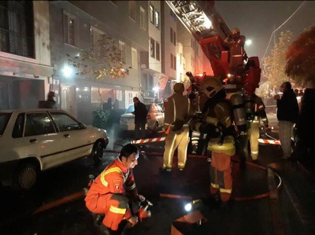 نجات 10 نفر از حادثه آتش سوزی مجیدیه تهران