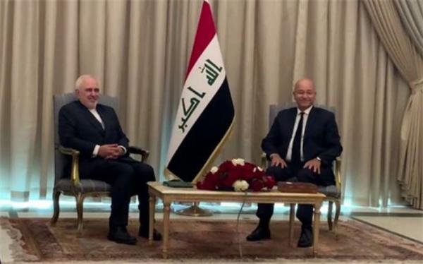 دیدار و گفت وگوی ظریف با رئیس جمهور عراق